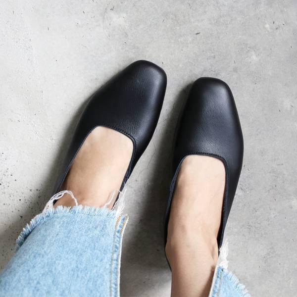 【預購】世界系列_日本製Recipe復古方頭真皮便鞋_黑