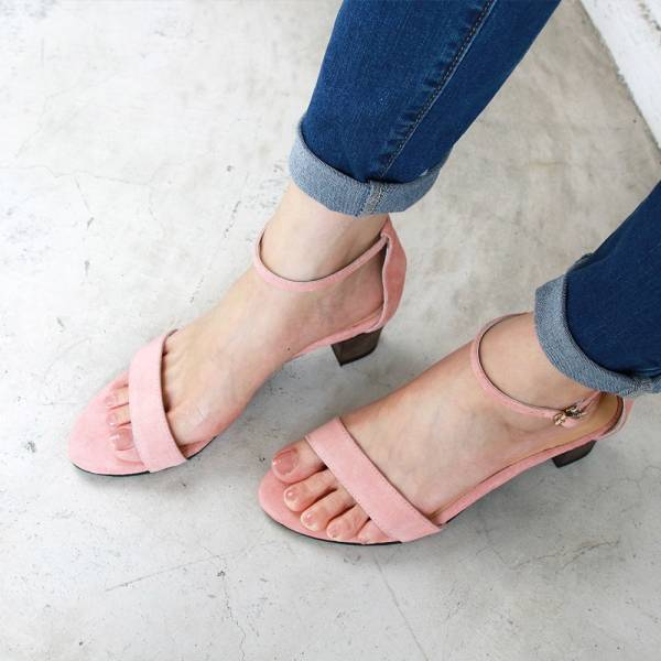 【訂製】細一字帶中跟涼鞋-粉紅