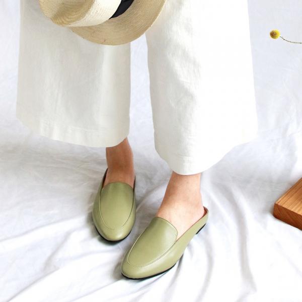 【訂製】一套就走,素面真皮穆勒鞋-淺綠