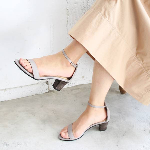 【手工訂製】細一字帶中跟涼鞋-莫蘭迪紫