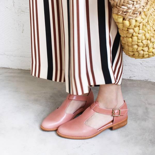 【訂製】外尖內圓T字牛津鞋-粉紅