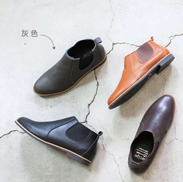 【高雄快閃_現貨】日本製Recipe側鬆緊帶小尖頭真皮短靴_灰