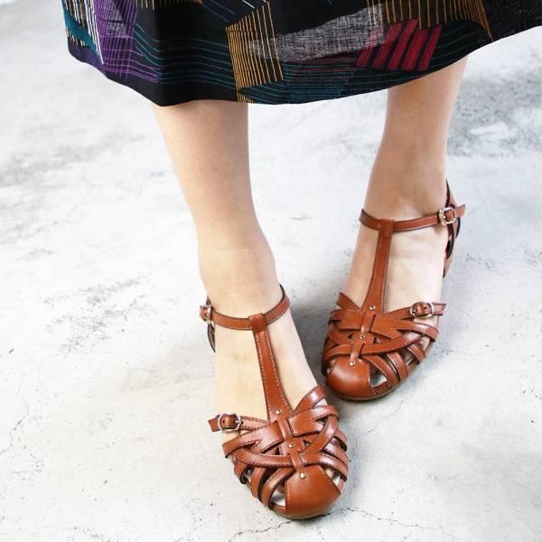 【訂製】手工編織真皮涼鞋-駝