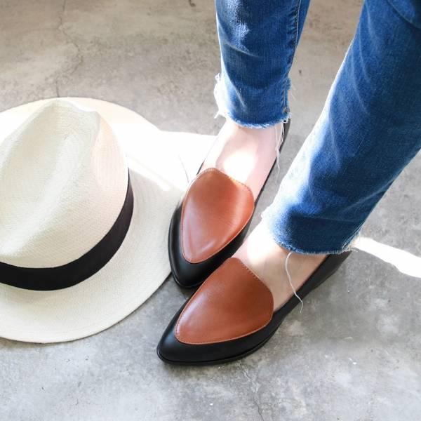 【訂製】真皮配色復古爵士鞋-黑*駝