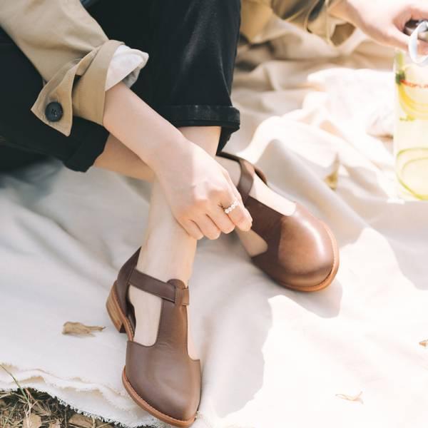 【訂製】外尖內圓T字牛津鞋-深棕