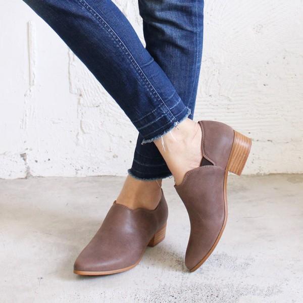 【現貨】鞋口不規則個性踝靴 - 棕(不可退換貨)
