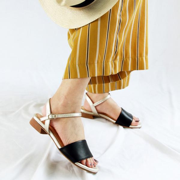 【訂製】簡約時尚寬一字帶涼鞋-黑