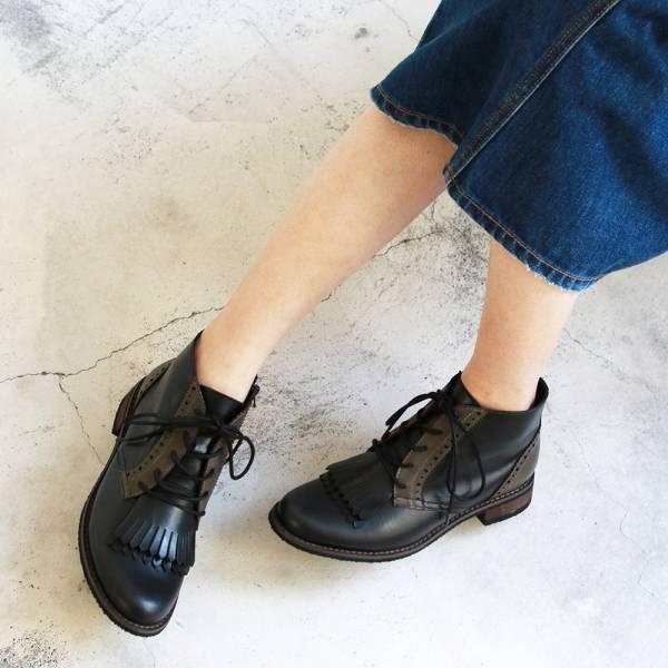 【訂製】寬腳板OK!流蘇片牛津真皮短靴-黑*墨綠