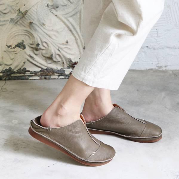 世界系列_日本製D'knot柔軟植鞣皮2穿精靈V口休閒鞋-灰綠