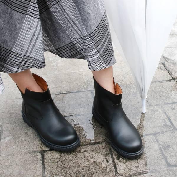 【訂製】真皮防水短靴-黑