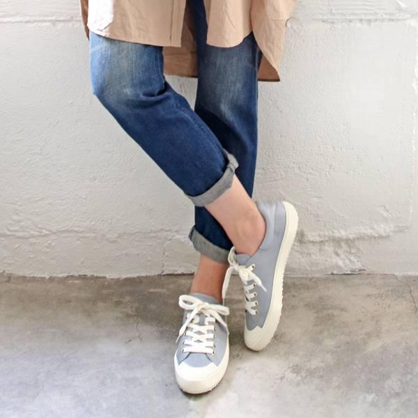 【預購】世界系列_月兒彎彎真皮綁帶休閒鞋_藍灰