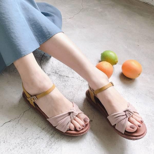 【訂製】Simple+蝴蝶結扭結漢堡底涼鞋-芥黃