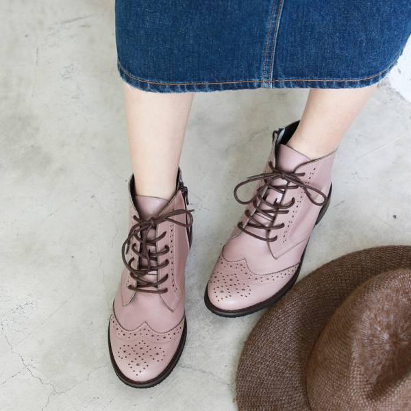 【訂製】寬腳版OK!真皮牛津短靴-藕粉