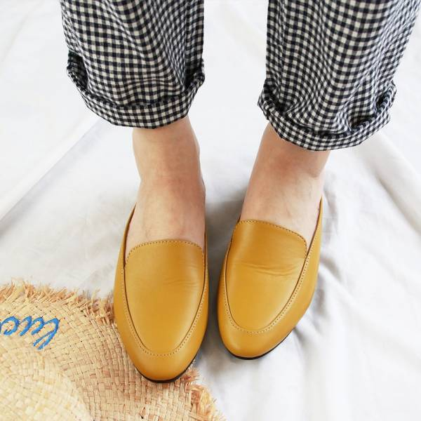 【訂製】一套就走,素面真皮穆勒鞋-黃