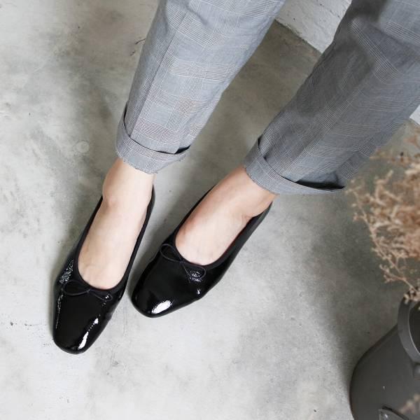 預購【日本製】Recipe方頭真皮芭蕾舞鞋-鏡面黑