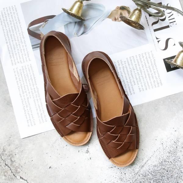 【預購】世界系列_日本製Recipe魚口設計編織涼鞋_棕