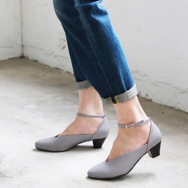 【訂製】小腳效果,個性V口繫帶跟鞋-莫蘭迪紫