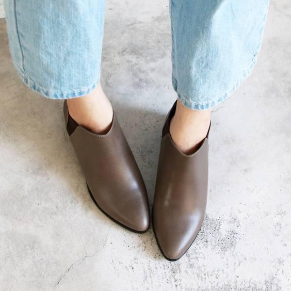 【訂製】套上就走!俐落剪裁真皮短靴-灰綠