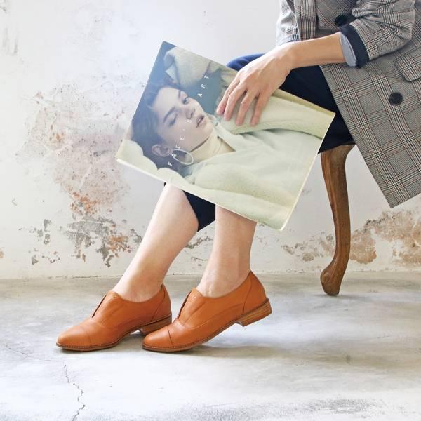 【手工訂製】外尖內圓簡約復古真皮紳士鞋_駝