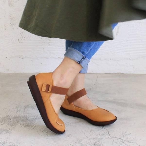 現貨【日本製】D'knot柔軟真皮輕量鬆緊帶便鞋-駝