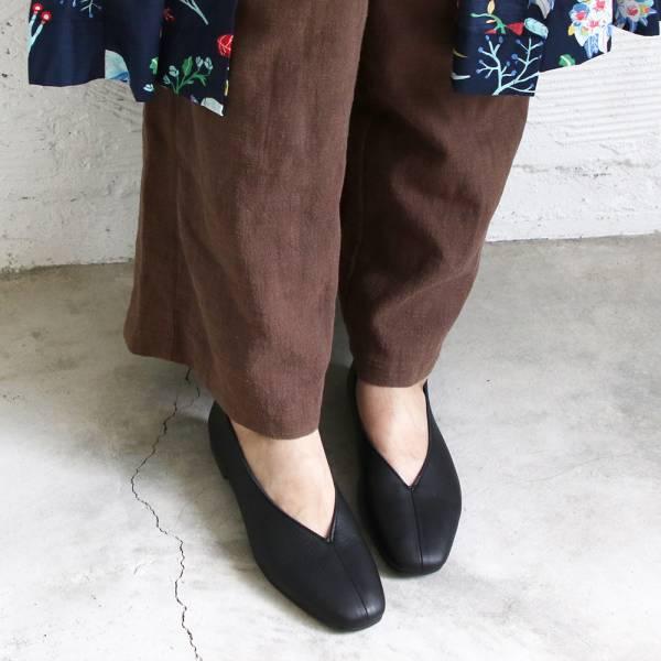 【預購】世界系列_日本製Recipe真皮V口造型便鞋_黑