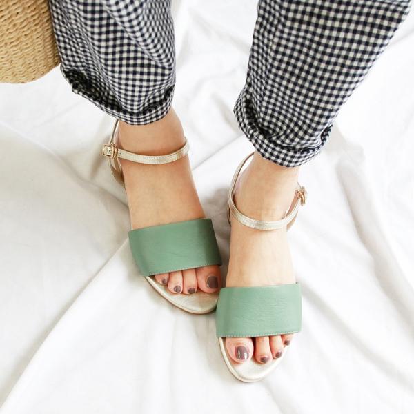 【訂製】簡約時尚寬一字帶涼鞋-湖水綠