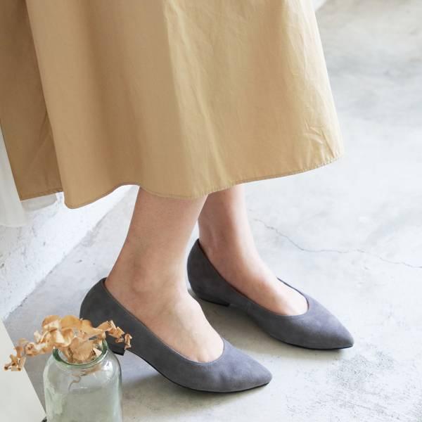【訂製】高質感羊絨尖頭低跟鞋-灰