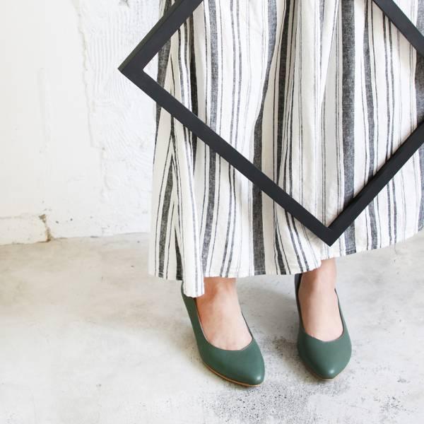 【訂製】大人的素色真皮細跟鞋-墨綠