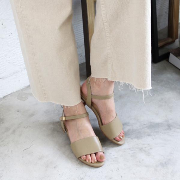 【訂製】小腳效果真皮涼鞋-米