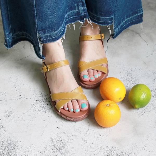 【訂製】Simple+交叉設計漢堡底涼鞋-黃
