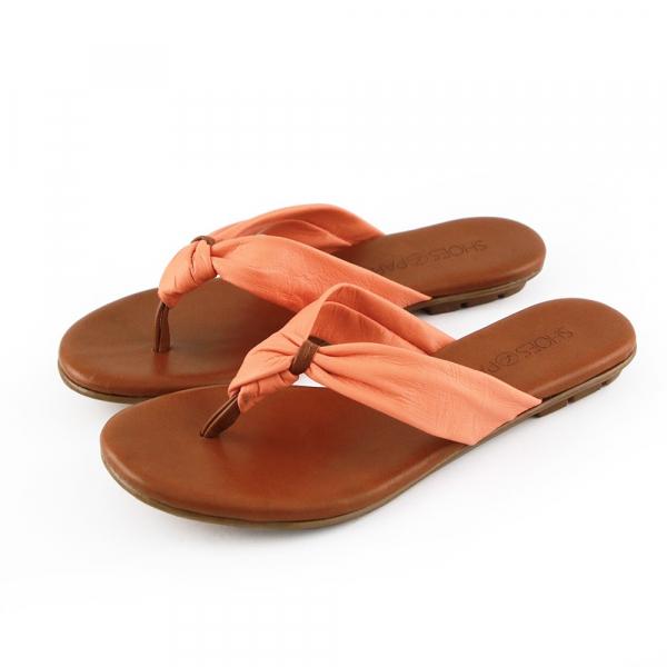 【訂製】全真皮扭結拖鞋-橘
