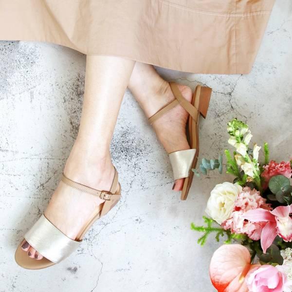 【訂製】簡約時尚寬一字帶涼鞋-淺金