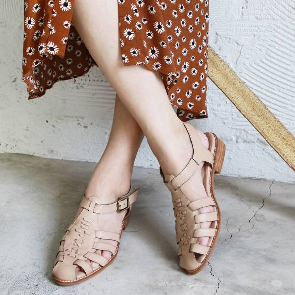 【訂製】真皮手工編織涼鞋-米
