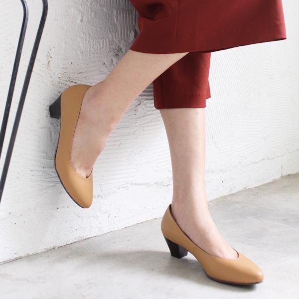 【訂製】安定感十足真皮尖頭中跟鞋 - 深米