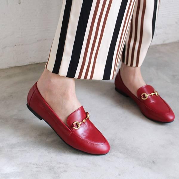 【訂製】真皮鍊條樂福鞋-紅