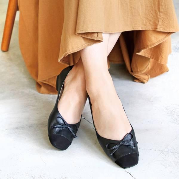 【現貨】拼接設計小方頭真皮芭蕾舞鞋_黑