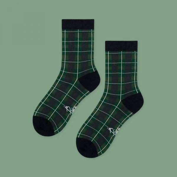 MIT 英倫復古格紋・綠(女襪)