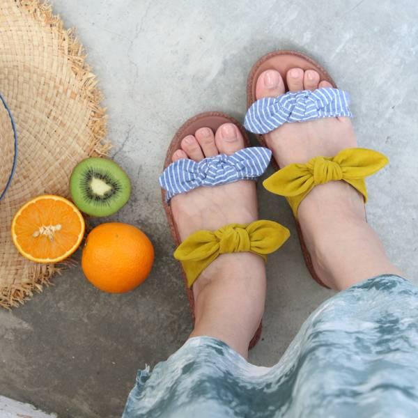 【高雄快閃_優惠價現貨】Simple+雙蝴蝶結漢堡底拖鞋_黃