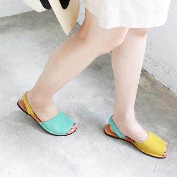 【訂製】手工極簡露趾涼鞋 - 黃x湖水綠
