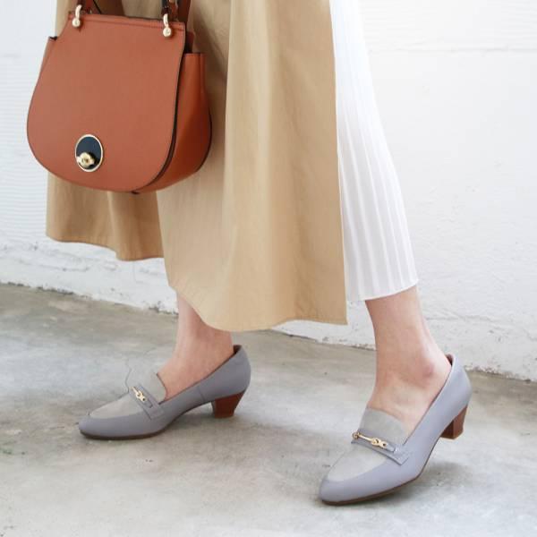 【訂製】飾扣真皮樂福跟鞋-莫蘭迪