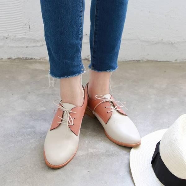 【訂製】經典真皮綁帶德比鞋 - 粉紅x米白