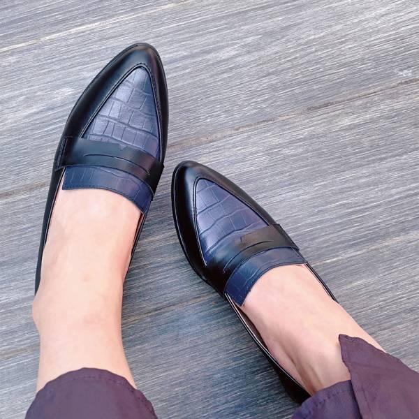 【訂製】真皮拼接俐落造型樂福鞋_黑