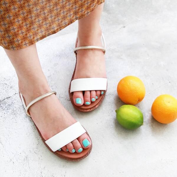 【訂製】Simple+久走不累一字帶兩穿涼鞋-白