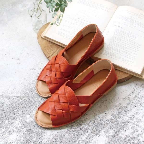 【預購】世界系列_日本製Recipe魚口設計編織涼鞋_橘