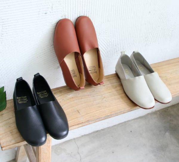 【預購】世界系列_日本製Recipe方頭L型真皮便鞋_淺灰
