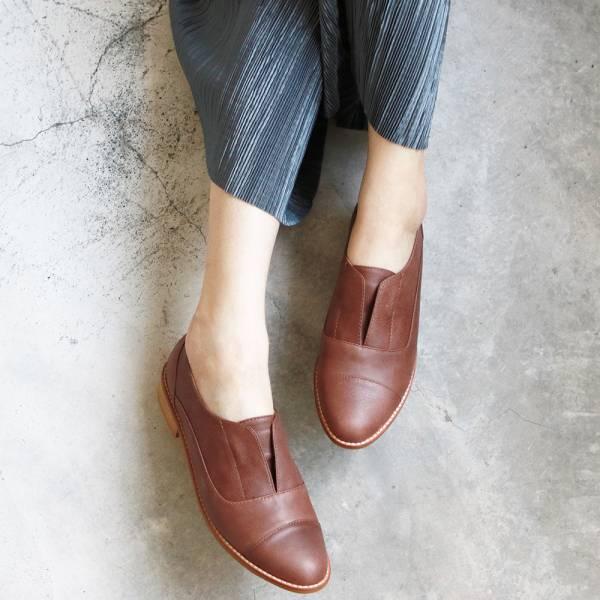 【訂製】外尖內圓簡約復古真皮紳士鞋-棕