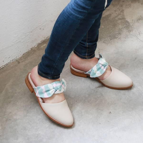 【訂製】異素材蝴蝶結穆勒鞋-藍白