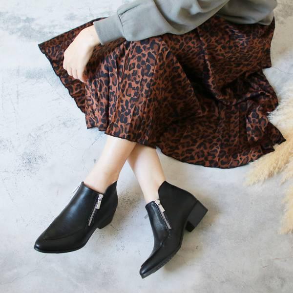【訂製】雙拉鍊率性羊皮短踝靴-黑