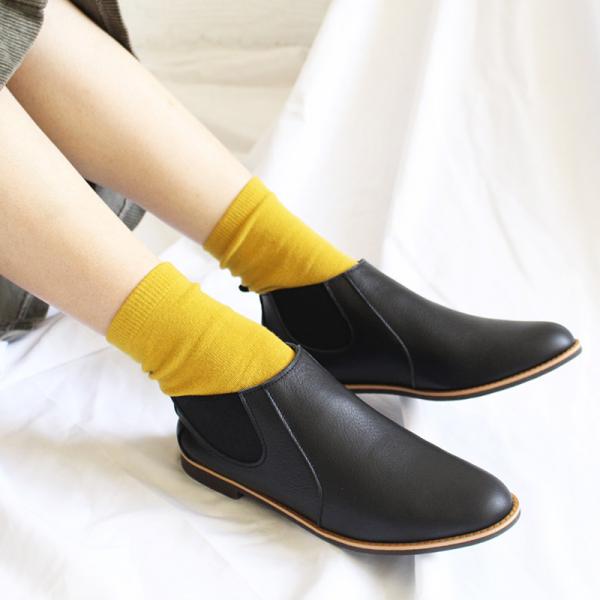【日本製_絕版現貨】側鬆緊帶小尖頭真皮短靴-黑
