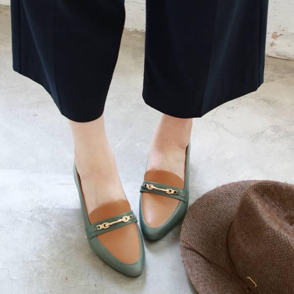 【訂製】飾扣真皮樂福跟鞋-墨綠
